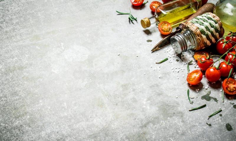 Tomater i bakgrunden Nya tomater, olivolja och kryddor royaltyfri foto