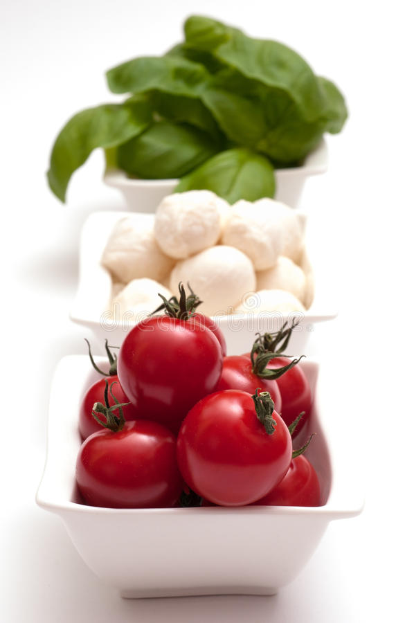 Tomater Mozzarellaundbasilika royaltyfria foton