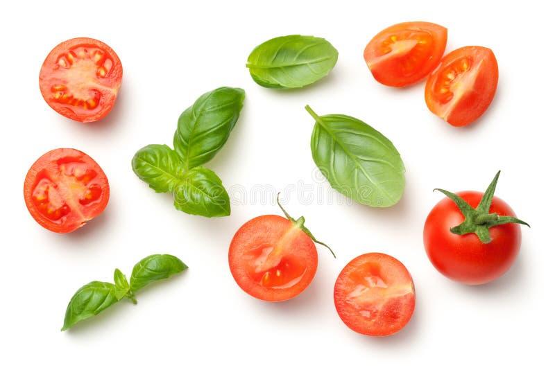 Tomater och Basil Leaves Isolated på vit bakgrund royaltyfri foto