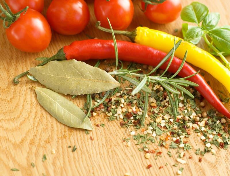 Tomater och kryddor royaltyfria bilder