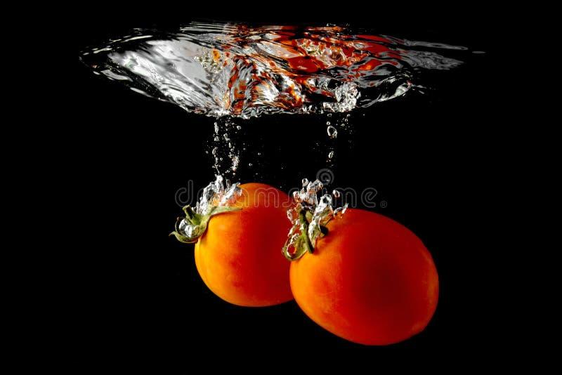 Tomater som faller till och med vatten royaltyfria bilder