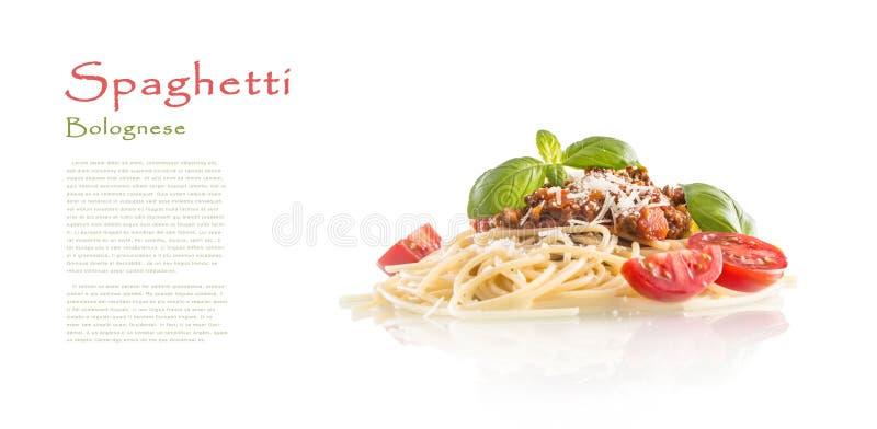 Tomates boloñeses y queso parmesano de la albahaca de los espaguetis aislados fotografía de archivo libre de regalías