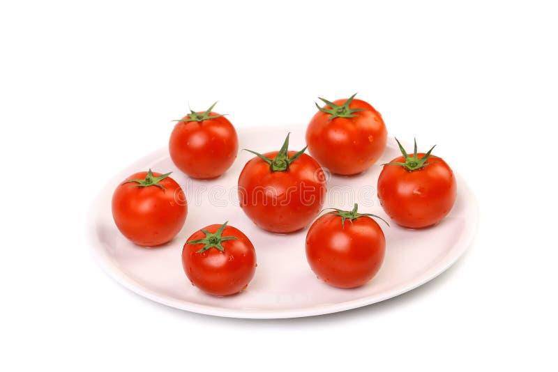 Tomates-cerises mûres fraîches sur une usine blanche. photos stock