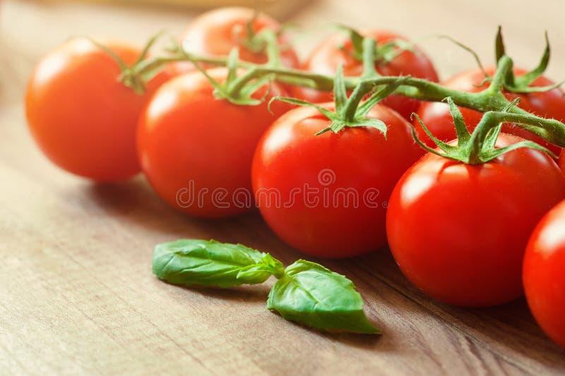Tomates-cerises sur des brindilles en gros plan Fond, bannière, éclaboussure photographie stock libre de droits