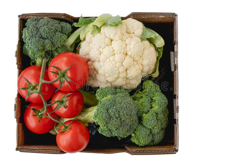 Tomates, coliflor y bróculi en cierre del envase para arriba, aislado en el fondo blanco fotografía de archivo libre de regalías