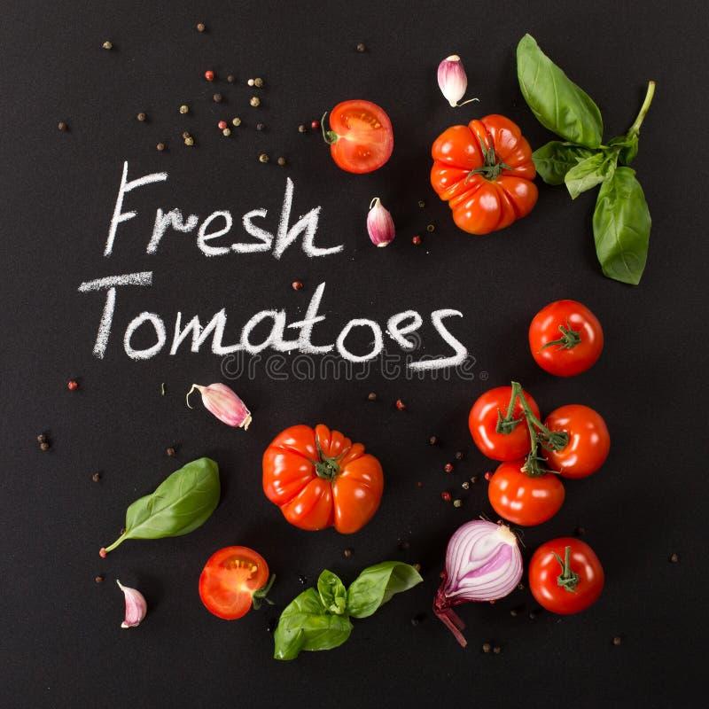 Tomates com ervas fotografia de stock royalty free