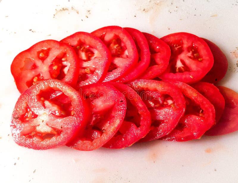 Tomates coupées en tranches de Roma image libre de droits