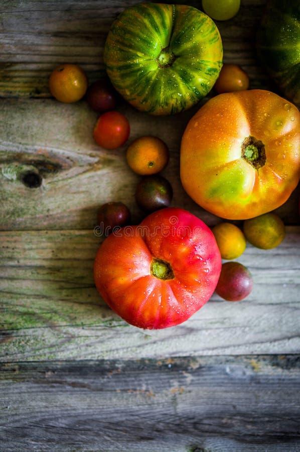 Tomates d'héritage sur le fond rustique image stock