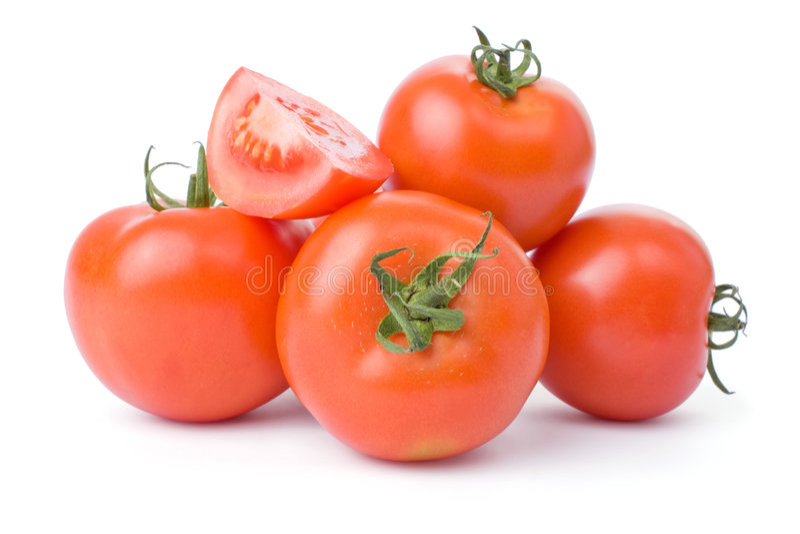 Tomates d'isolement sur un fond blanc photographie stock
