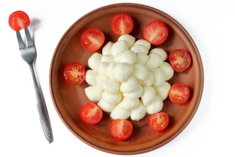 Tomates da mussarela e de cereja do bebê fotografia de stock royalty free