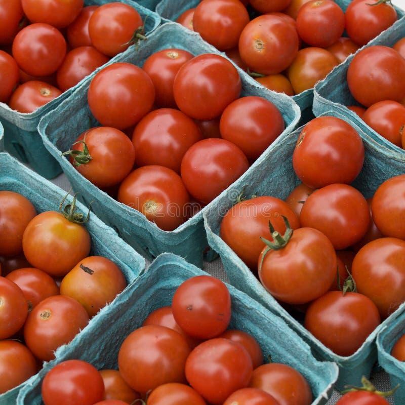 Tomates de cereza en el mercado del ` s del granjero fotos de archivo libres de regalías
