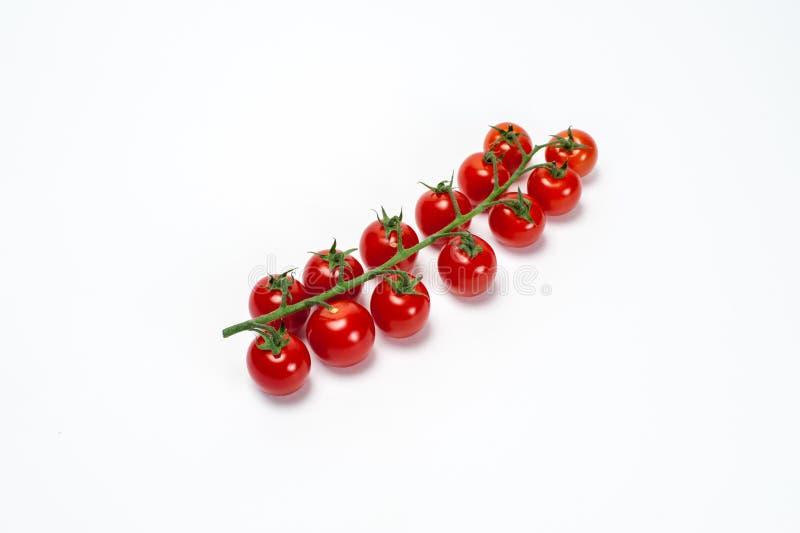 Tomates de cereza rojos en la ramita fotografía de archivo libre de regalías