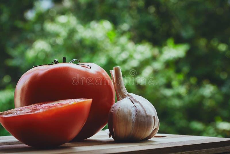 Tomates e alho imagem de stock