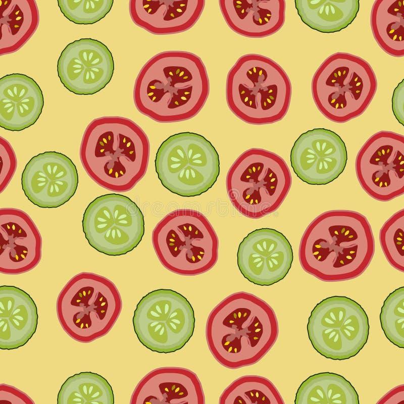 Tomates e pepinos, teste padrão seemless, vetor ilustração royalty free