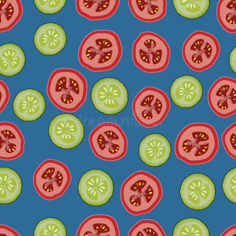 Tomates e pepinos, teste padrão seemless, vetor, fundo azul ilustração royalty free