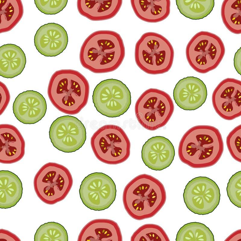 Tomates e pepinos, teste padrão seemless, vetor, fundo isolado, branco ilustração do vetor