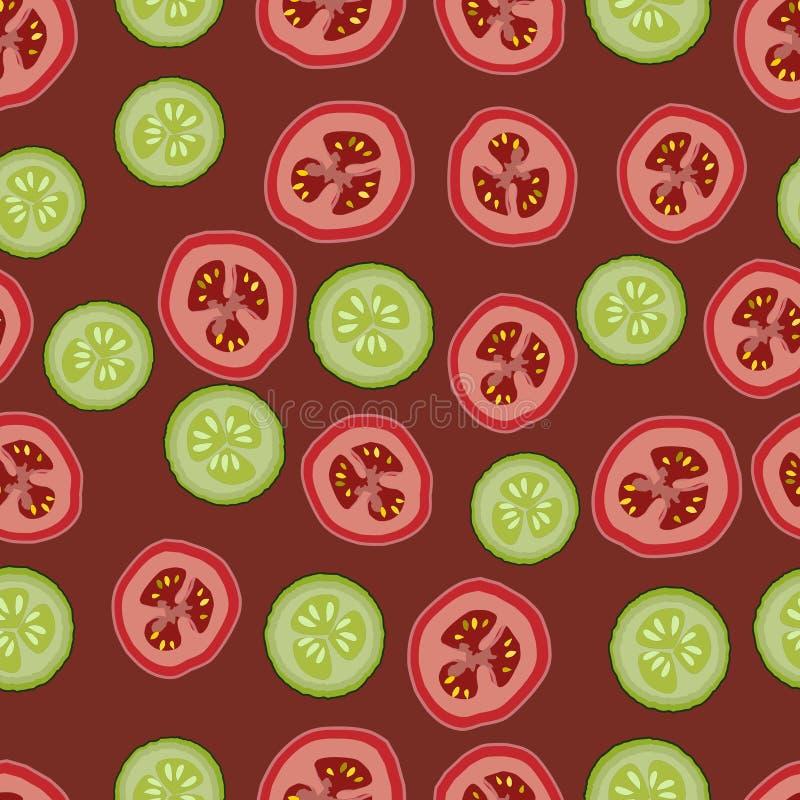 Tomates e pepinos, teste padrão seemless, vetor, fundo marrom ilustração stock