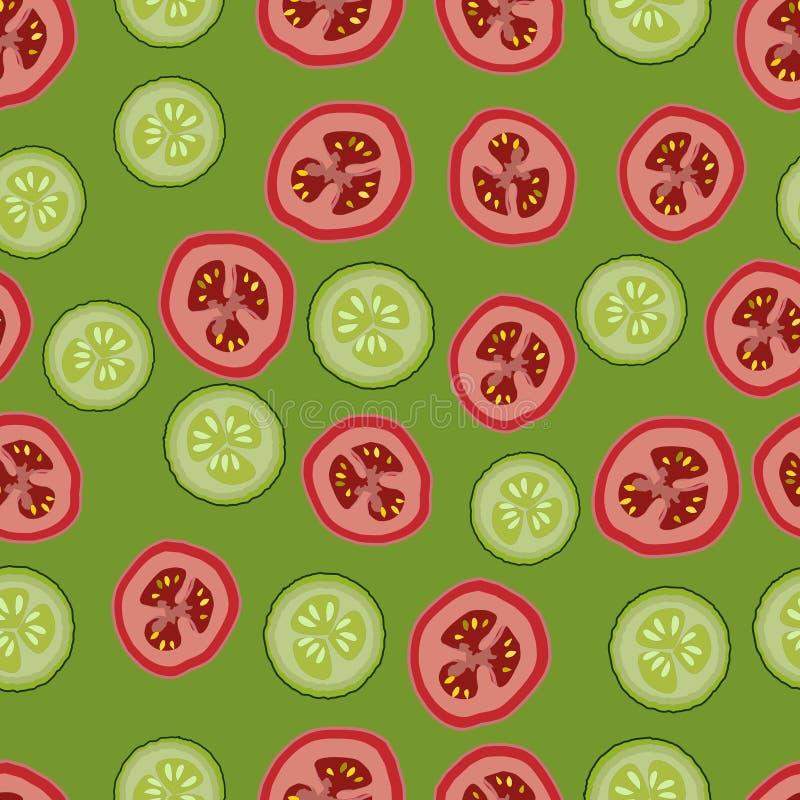 Tomates e pepinos, teste padrão seemless, vetor, fundo verde ilustração stock