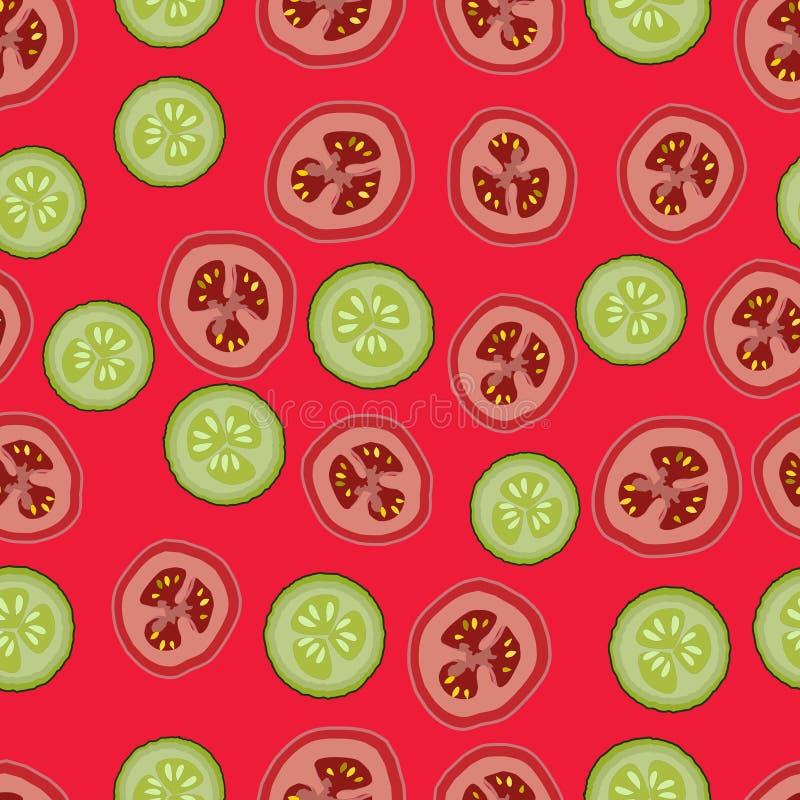 Tomates e pepinos, teste padrão seemless, vetor, fundo vermelho ilustração royalty free