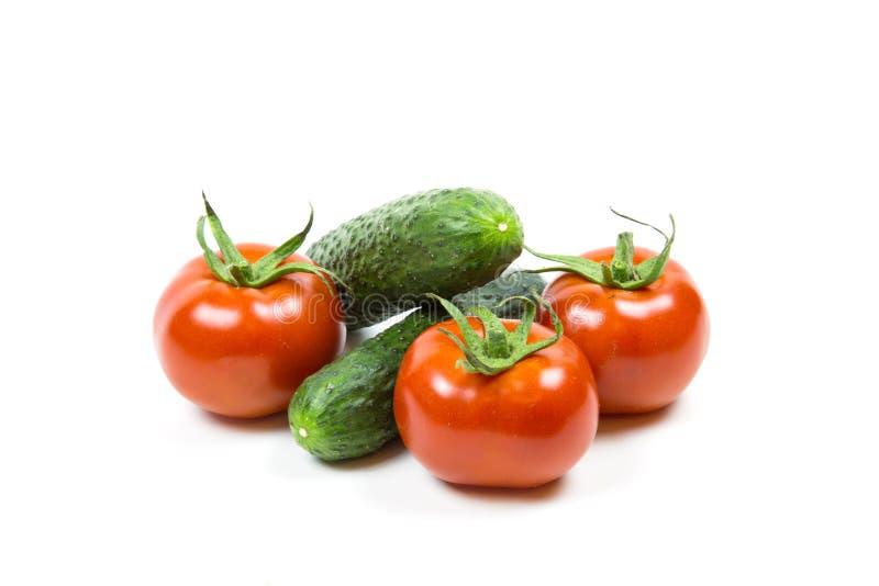 Tomates e pepinos vermelhos frescos no fundo branco fotos de stock royalty free