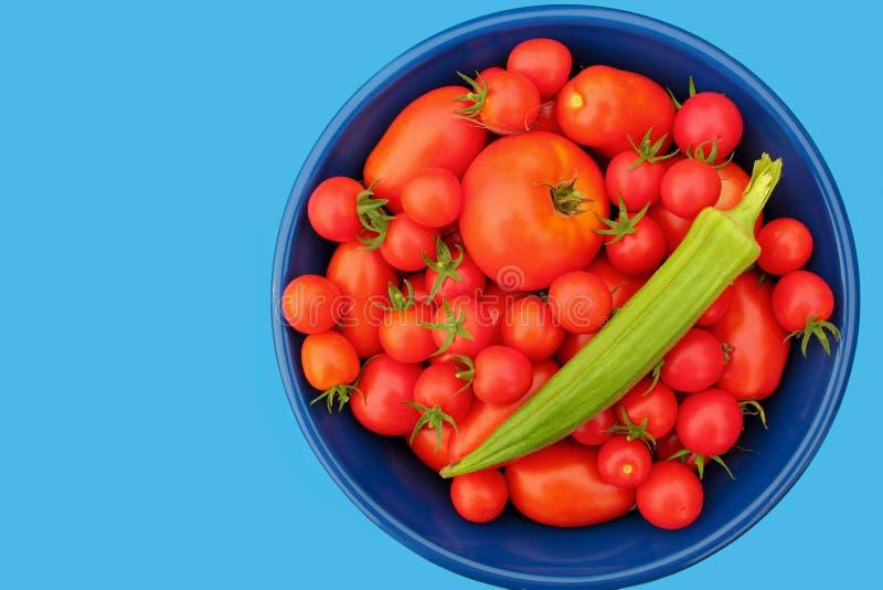 Tomates et gombo image stock