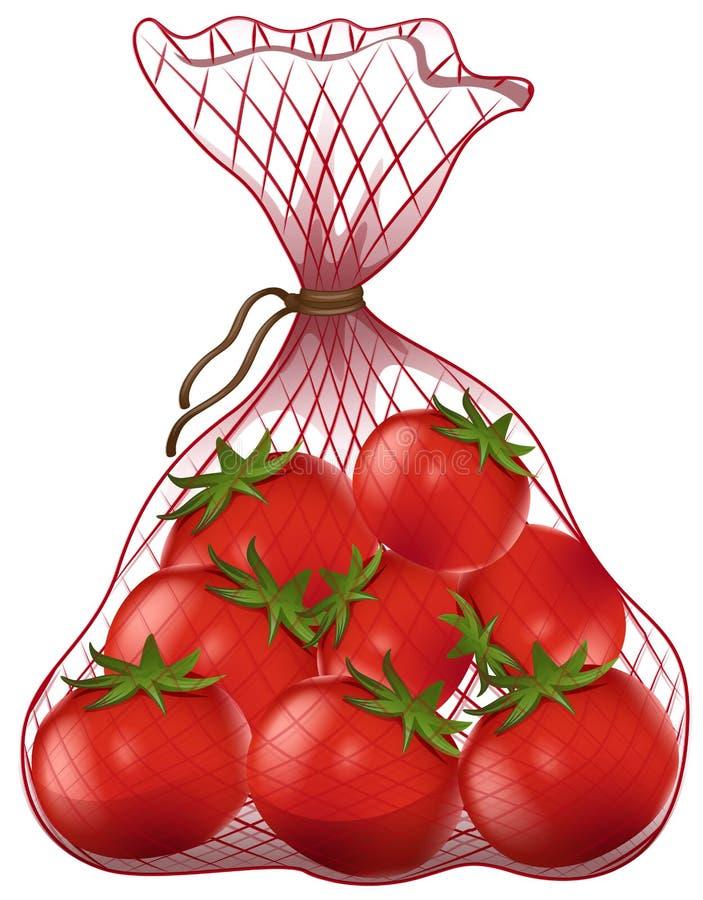 Tomates fraîches dans le sac net illustration stock