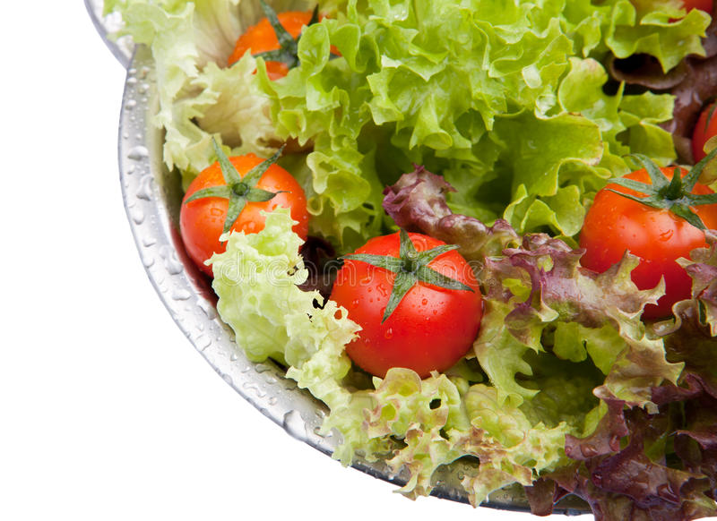 Tomates fraîches lavées avec de la salade photo stock