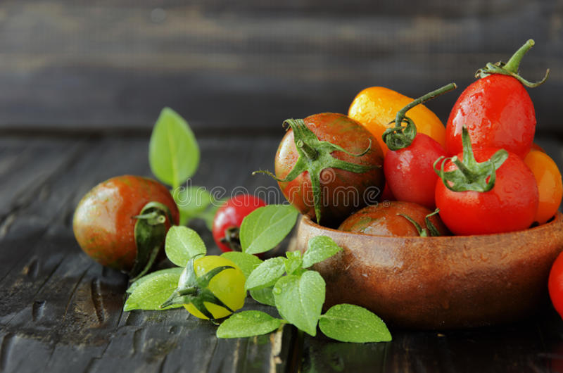 Tomates frescos con albahaca en la tabla de madera, foco selectivo imágenes de archivo libres de regalías