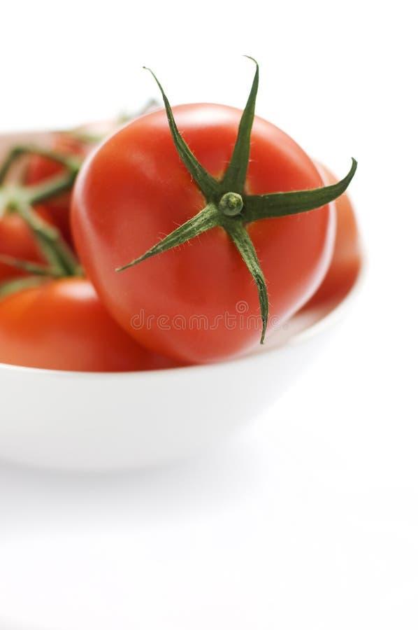 Tomates frescos en tress en un tazón de fuente blanco foto de archivo libre de regalías