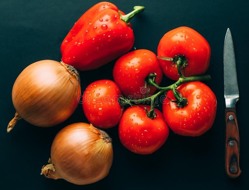 Tomates molhados frescos nas gotas da água, da cebola dourada, da pimenta de sino e da faca no fundo escuro, ingredientes vegetai imagem de stock