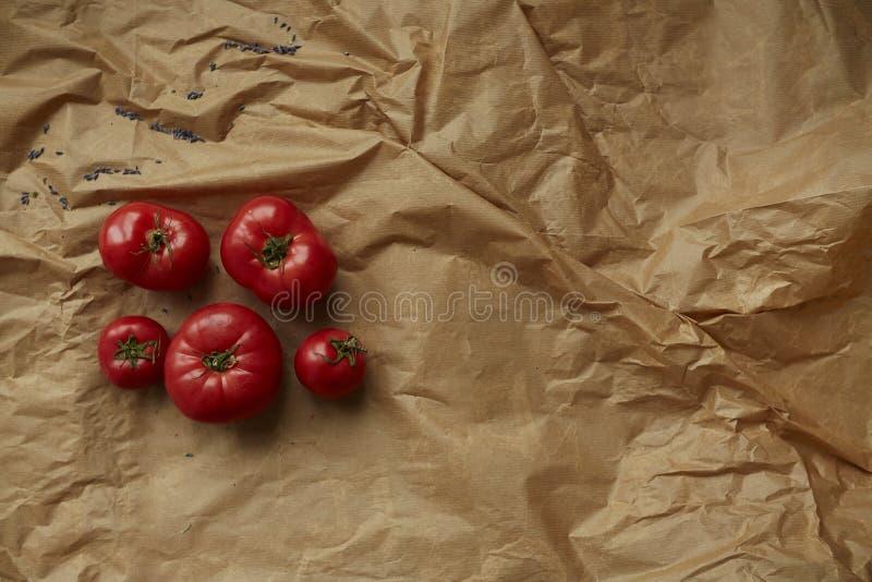Tomates que mienten en fondo del papel del arte de la frente Nutrición sana Copie el espacio fotos de archivo libres de regalías