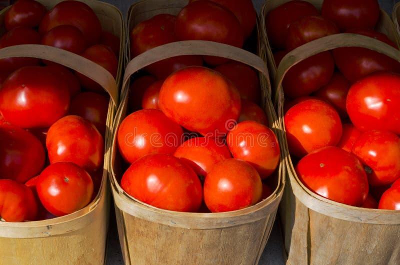 Tomates rojos brillantes en cestas de madera de los granjeros en el mercado foto de archivo