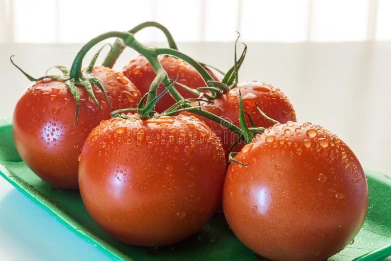 Tomates vermelhos em uma placa fotos de stock