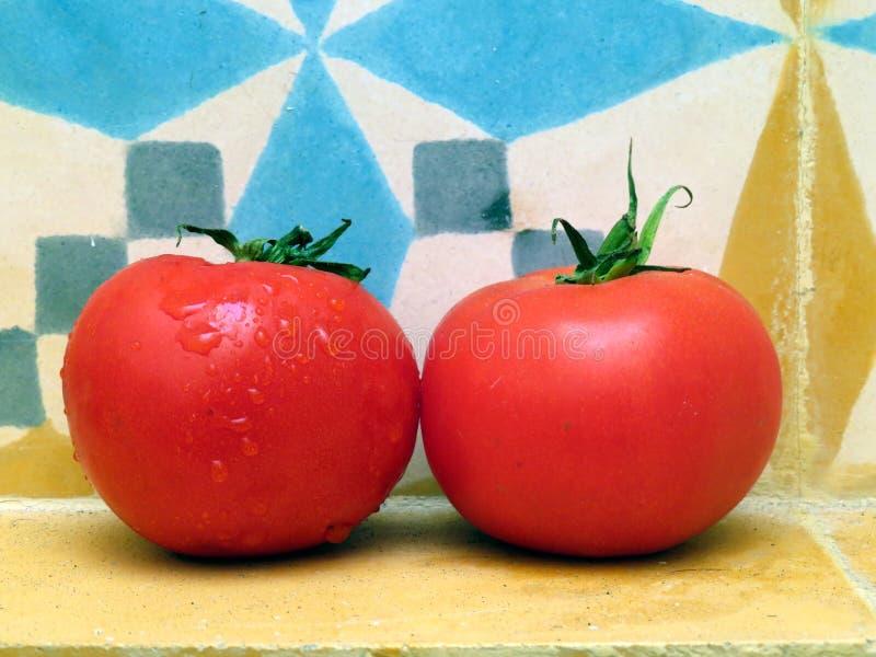 Tomates vermelhos frescos com um fundo colorido das telhas fotos de stock royalty free