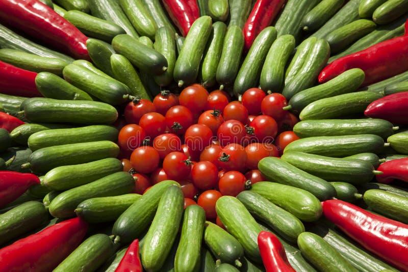 Tomates, zucchini e fundo das pimentas imagem de stock
