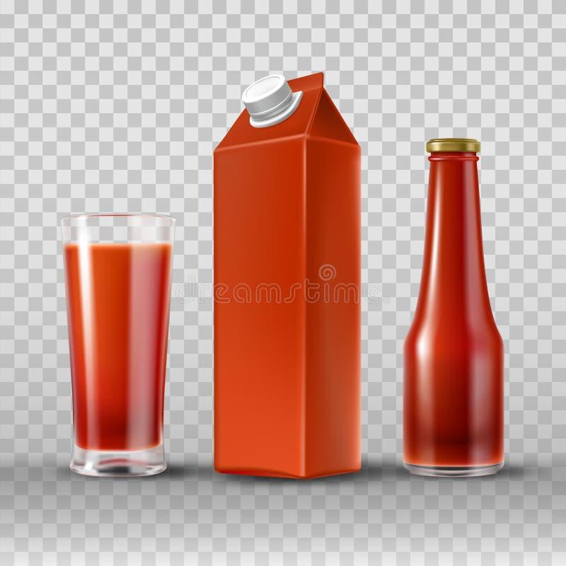 Tomatfruktsaft och ketchup stock illustrationer