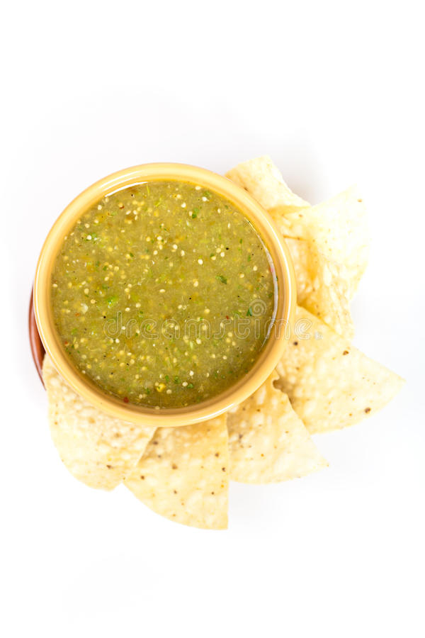 Tomatillo salsa verde, mexican cuisine stock photo