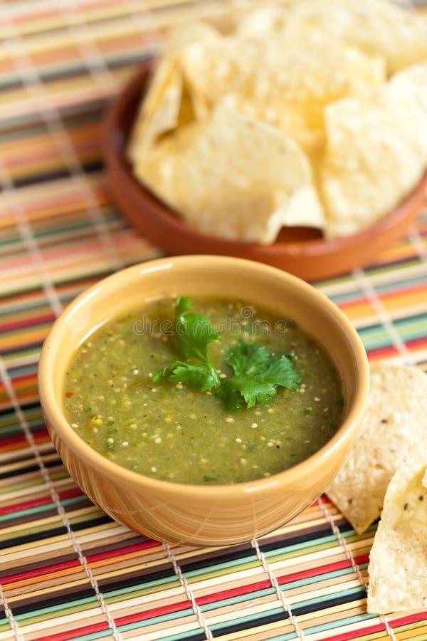 Tomatillo salsa verde, mexican cuisine royalty free stock photo