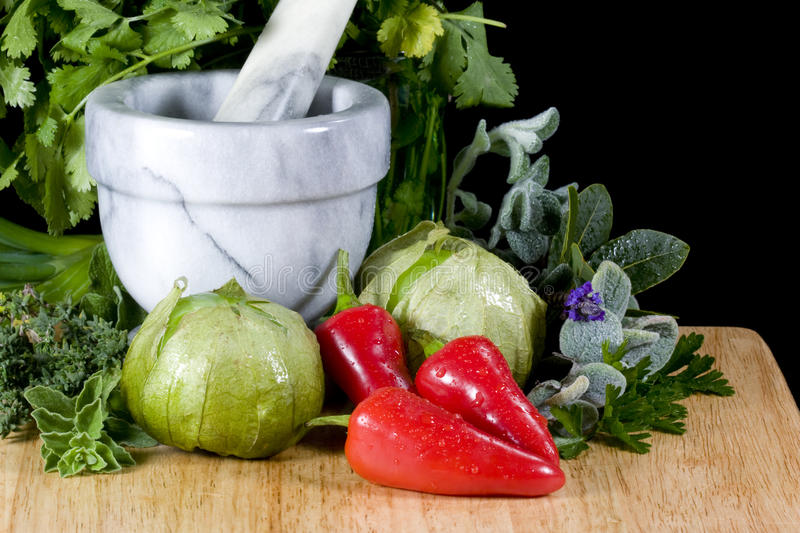 Download Tomatillos and Peppers stock photo. Image of wood, vegetables - 13194036