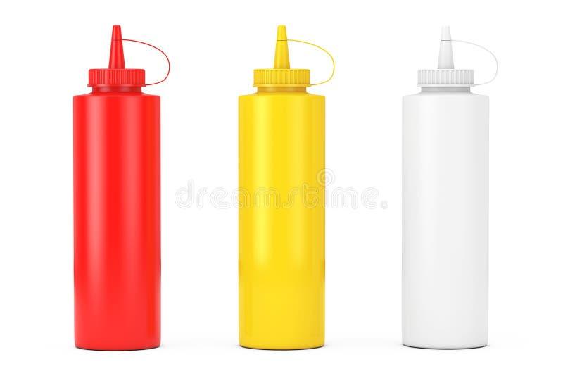 Tomatketchup, senap och majonnässåsflaskor renderi 3D vektor illustrationer