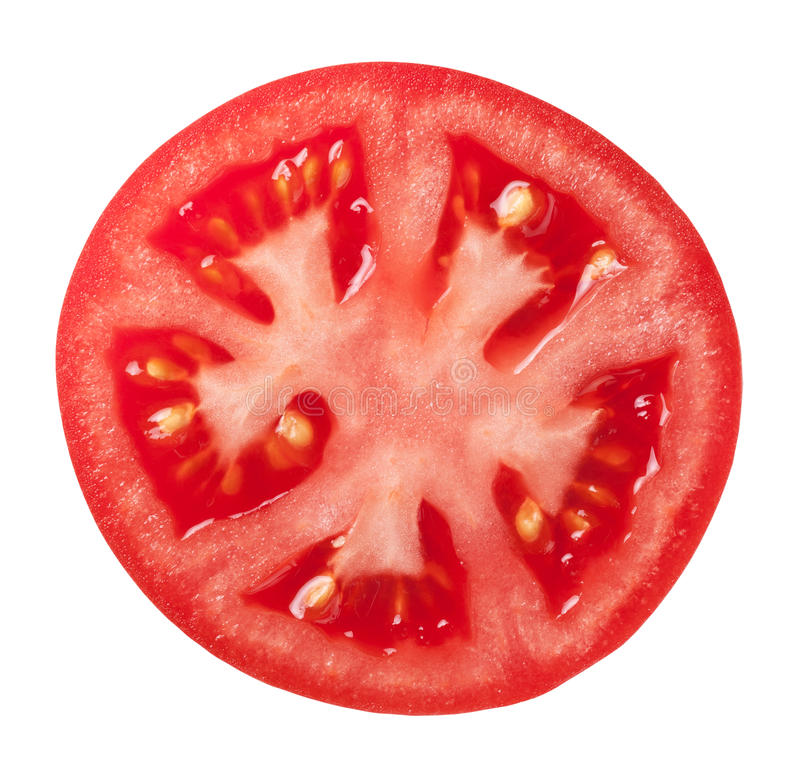 Tomato. Slice isolated on white background, top view stock photo