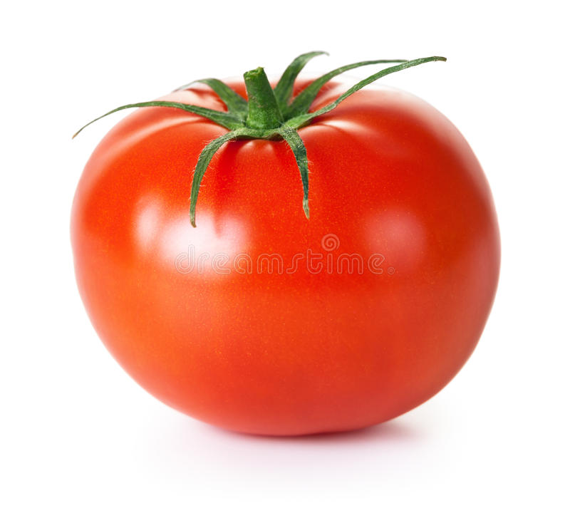 Tomato. Fresh red tomato with green stem on white background stock images