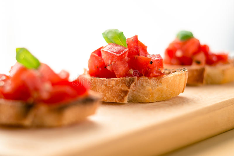 Tomato basil bruschetta stock photography