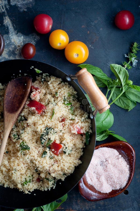 Tomato and Basil Couscous stock photos