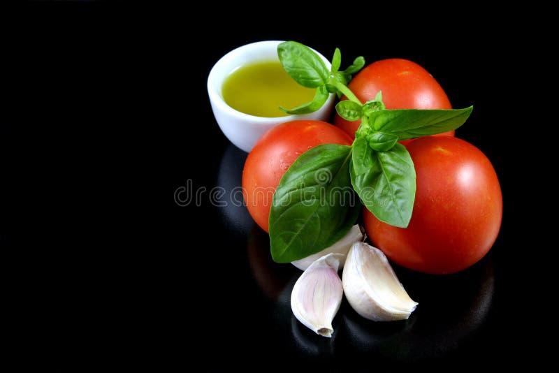 Tomato, Basil, Garlic, Olive Oil 2 Stock Photo
