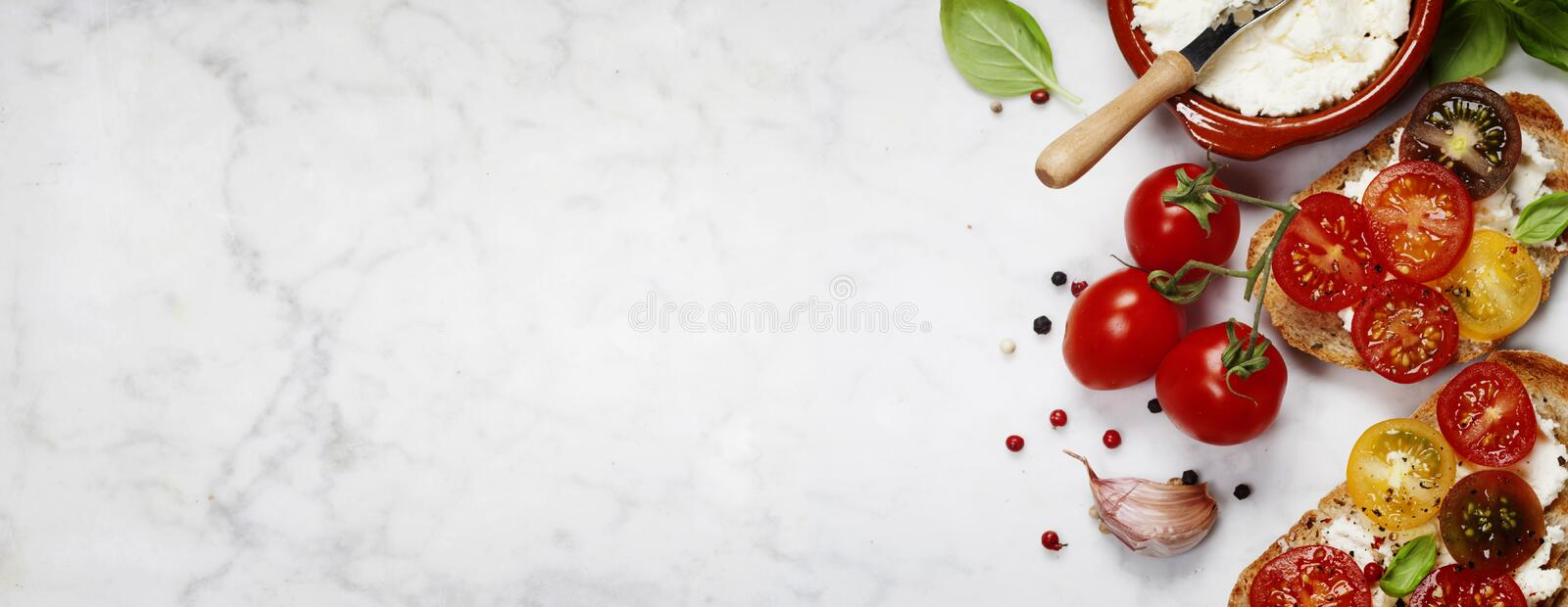 Tomato and basil sandwiches royalty free stock photo