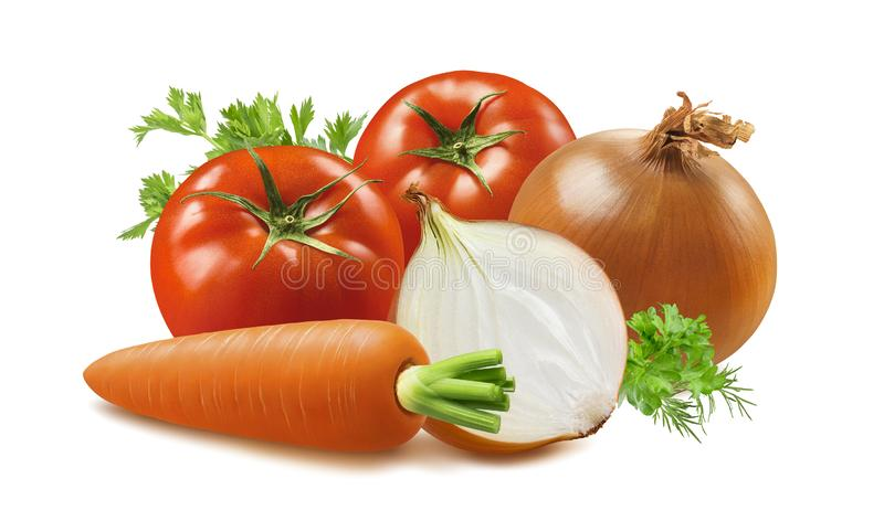 Tomato, carrot and onion isolated on white background stock image