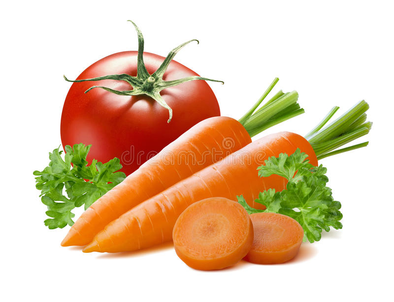 Tomato carrot pieces vegetable isolated on white background. As package design element stock photo