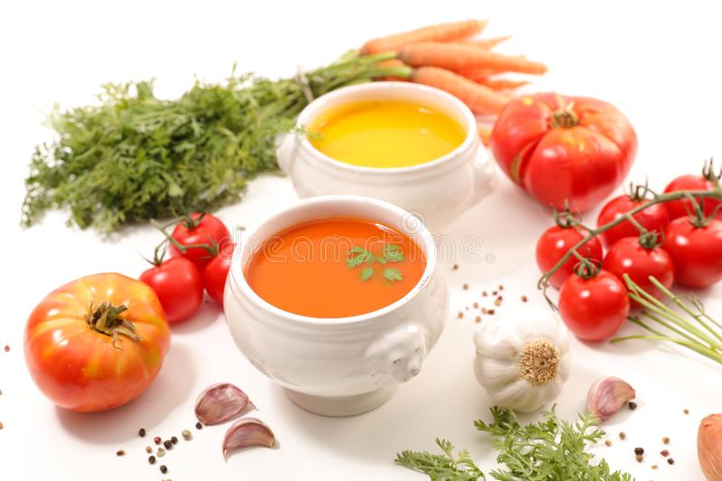 Tomato and carrot soup stock photography