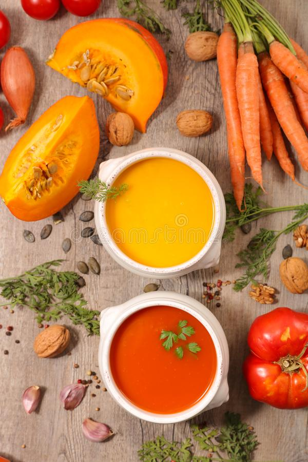 Tomato and carrot soup royalty free stock photography